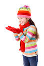 Girl in winter clothes with empty hands Royalty Free Stock Photography