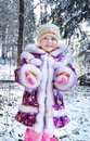 Girl in winter forest Royalty Free Stock Image
