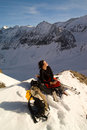 Girl in winter mountains Royalty Free Stock Photography