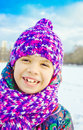 Girl in winter park smiling Stock Photo