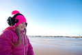 Girl on winter windy beach a young posing baltic or autumn Stock Images