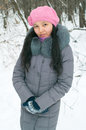 Girl in wintertime attractive young outdoor Stock Photography