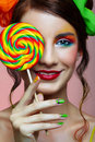Girl wit lollipop Royalty Free Stock Photo