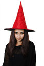 Girl with a witch hat portrait of teenager red Stock Photography