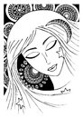 Girl or woman. zentagle. vector. sketch