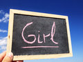 Girl women woman cyan blue write word big pink Royalty Free Stock Photo