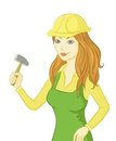 Girl worker with a hammer Royalty Free Stock Photography