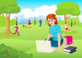 Girl Working With Lap Top In The City Park Royalty Free Stock Photo