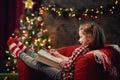 Girl writes the letter to Santa Royalty Free Stock Photo