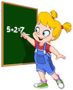 Girl writing on blackboard