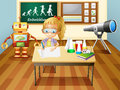 A girl writing inside a science laboratory room illustration of Stock Photos