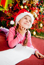 Girl writing a letter to Santa Royalty Free Stock Photo