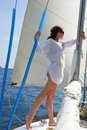 The girl on the yacht Royalty Free Stock Photo