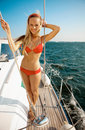 Girl on a yacht Stock Image