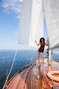 Girl on a yacht Royalty Free Stock Photo
