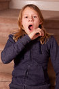 Girl yawning teenage with blond hair Royalty Free Stock Images