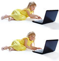The girl in a yellow dress at the computer Royalty Free Stock Photography