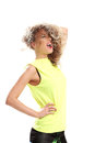 Girl in yellow dress has gone insane some crazy look Royalty Free Stock Photo