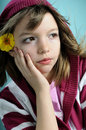 Girl with yellow flower portrait Stock Photography