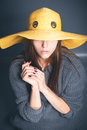 Girl in yellow hat Royalty Free Stock Photo