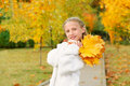 Girl with yellow leaves Royalty Free Stock Image