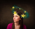 Girl with yellow stars circleing around her head illustration