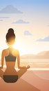 Girl Yoga Lotus Position Sport Fitness Woman Exercise Workout On Sunset Royalty Free Stock Photo