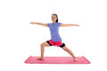 Girl in yoga pose doing a studio Royalty Free Stock Photos