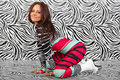 Girl in Zebra sexy style Royalty Free Stock Images