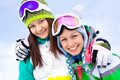 Girlfrieds in ski resort cheerful young girlfriends sportswear Royalty Free Stock Photos