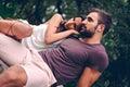 Girlfriend leaning on her boyfriend Royalty Free Stock Photo