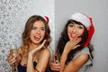 Girlfriends at christmas party Stock Image