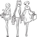 Girlfriends go to the boutique vector picture with three girls going shopping Stock Photo