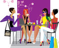 Girlfriends at lunch in cafe Royalty Free Stock Photo