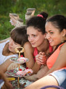 Girlfriends on picnic Royalty Free Stock Images