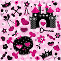 Girlish aggressive cute black and red elements set on pink background Stock Photo