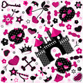 Girlish aggressive pattern cute on pink background Stock Photography