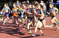 Girls on the 1500 meters race Stock Images