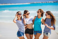 Girls amid a tropical beach. Royalty Free Stock Photo