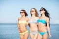 Girls in bikini walking on the beach Royalty Free Stock Photo