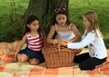 Girls on blanket with basket three curious sitting under the tree picnic Stock Photos