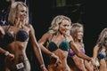 Girls blonde athletes fitness bikini Royalty Free Stock Photo