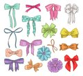 Girls bow vector girlish bowknot or girlie ribbon on hair or for decorating gifts on Birtrhday illustration set of bowed