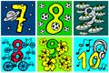 Happy birthday numbers to play and learning numbers with pictures about hobbies from 7-10 for kids