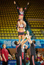 Girls and boys from energy team perform stunt moscow mar at championship contests of moscow in cheerleading at palace of Stock Photos