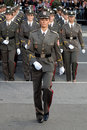 Girls cadet unit prepare for march Royalty Free Stock Photos