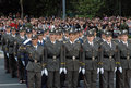 Girls cadet unit singing Serbian anthem Royalty Free Stock Photos