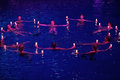 Girls with candles in a circle in pool at show olympic champions moscow dec synchronized swimming sports complex on Royalty Free Stock Image