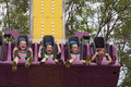 Girls on carnival ride at state fair Royalty Free Stock Photo