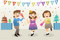 Girls celebrating new year party a vector illustration of group of cute Stock Photo
